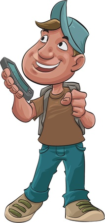 smart boy: young student with a new smart phone is his hand Stock Photo