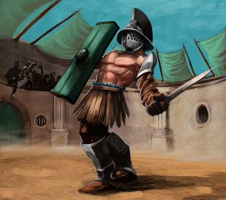 cascos romanos: de gladiadores en el estadio en una pelea, él tiene una espada en su mano Foto de archivo