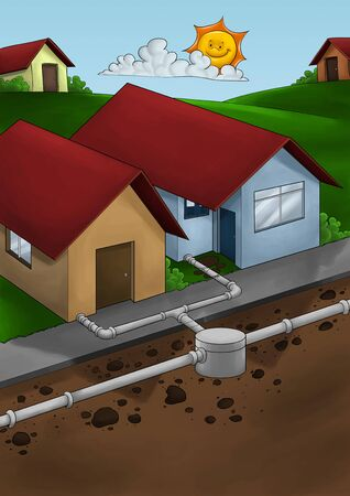 drainage: exposed drain system to houses in a small city or neighborhood