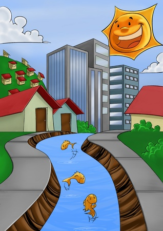 city with a river, some fishes in the water and a bright sun photo