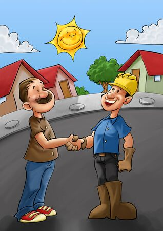 employer and a builder shaking hands after a good job photo