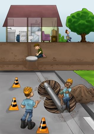 kunststoff rohr: einige Fixierer Arbeiten in der Stra�e ta l�sen Rohr Probleme