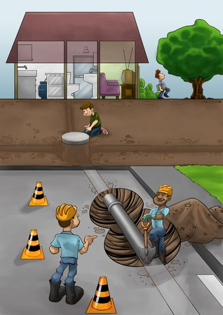 sewer pipe: some fixers working in the street ta solve pipe problems