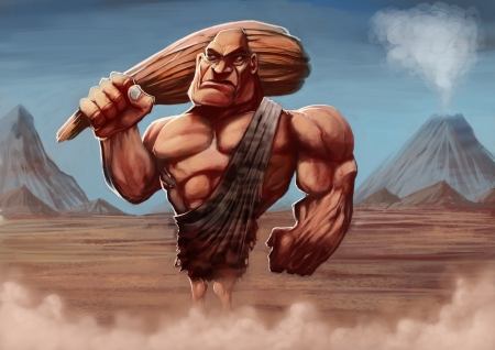 barbarian: strong caveman with his club in a ancient background