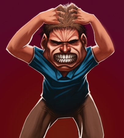 failed: A guy grabbing his hair with angry