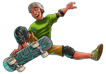 skateboarding tricks: young skater jumping and doing a trick with his skate board