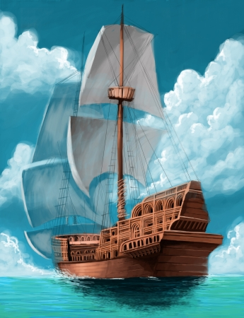 great galeon with open sails in the ocean background Stock Photo