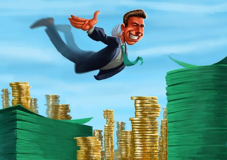 dabbling: young executive jumping to a lot of coins and notes Stock Photo