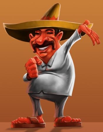 drapeau mexicain: traditionnelle mexicaine avec un sombrero et souriant