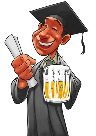 robe: student getting degree with a beer pint in his hand