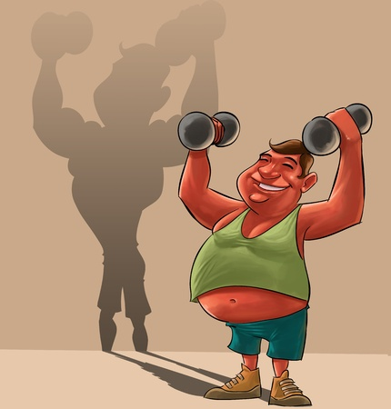 scrawny: young fat man lifiting Dumbbells and dreaming to be strong