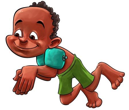 Junge mit Arm schwebt Springen zu tauchen Standard-Bild - 14840710