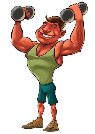 hombre fuerte: joven hombre fuerte sonriendo levantando pesas pesadas