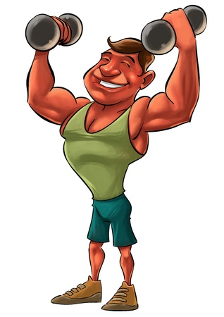 young smiling strong man lifting heavy Dumbbells photo