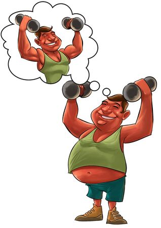 over sized: young fat man lifting Dumbbells and dreaming to be strong