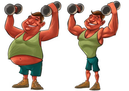 exercise cartoon: two guys, one fat and another strong with Dumbbells