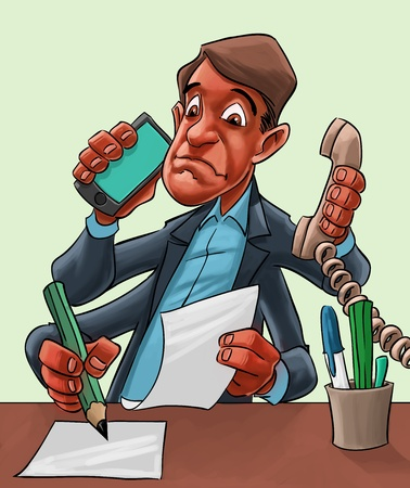 organise: Humorous cartoon of a businessman seated behind his desk multitasking with four hands answering a mobile, taking a landline call, writing and reading a document