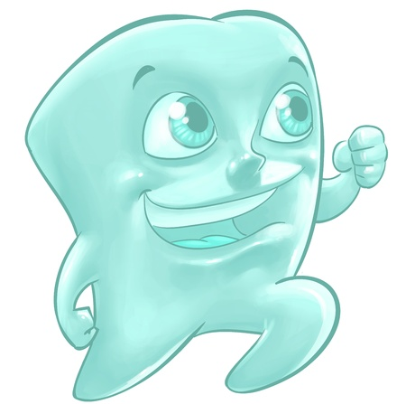 A cartoon illustration of a fit happy molar tooth running with a big smile on his face illustration
