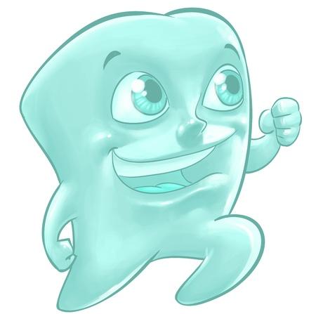 higiene bucal: Un ejemplo de la historieta de un ajuste del diente molar feliz corriendo con una gran sonrisa en su rostro Foto de archivo