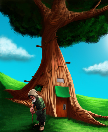 goblin: A gnome in a grass ground in front his small house into a tree