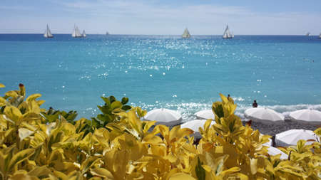 Middellandse Zee, Cote d Azure, Nice Frankrijk, Paraplu's, Avenue D Anglais Stockfoto