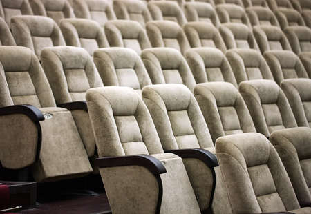 Empty comfortable seats in a theater, cinema