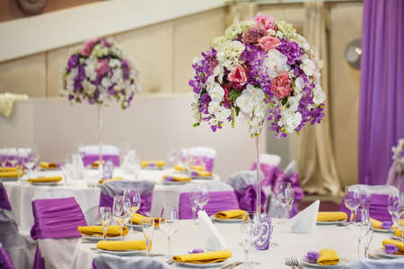Table set for wedding or another catered event dinner. Banco de Imagens