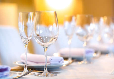 beautifully served table in a restaurant on a white tablecloth Stock Photo