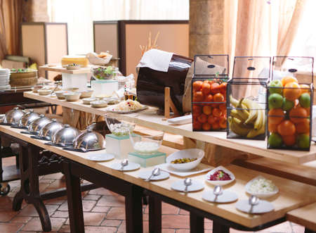 Breakfast buffet at the hotel or restaurant. Stok Fotoğraf