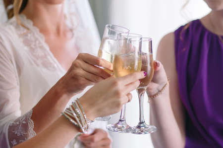 Closeup photo of cheerful girls celebrating a bachelorette party. Reklamní fotografie
