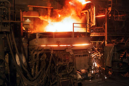 steel production in electric furnaces. Huge ironworks.