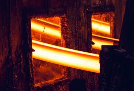 Hot billet bloom continuous casting, also called strand casting 写真素材 - 131693581