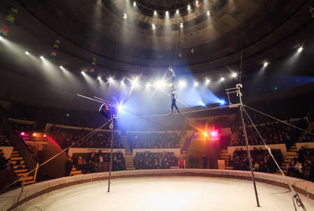 Fearless tightrope walkers at the circus arena.