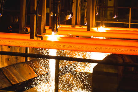 Steel Billets at Torch Cutting Banque d'images