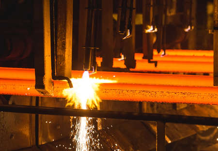Steel Billets at Torch Cutting. Metallurgical plant 写真素材