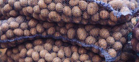 A bag of raw and dirty potatoes. Fresh potatoes close-up in a grid.