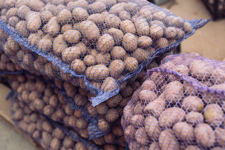 A bag of raw and dirty potatoes. Fresh potatoes close-up in a grid