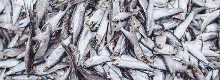 Fish sprats at the fish market. Fresh organic fish.