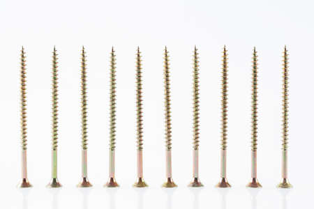 Screws still life large self tapping screws on white background