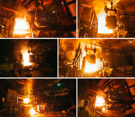 Collage of steel production in electric furnaces