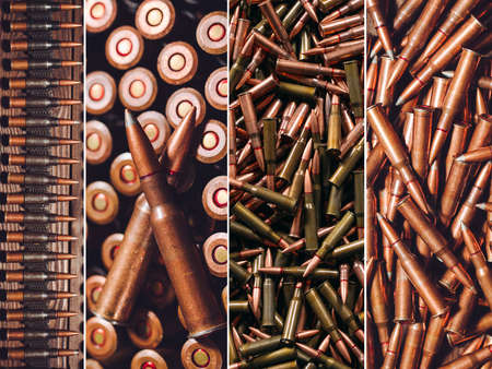 Hunting or military ammunition. Collage of different types of firearms.