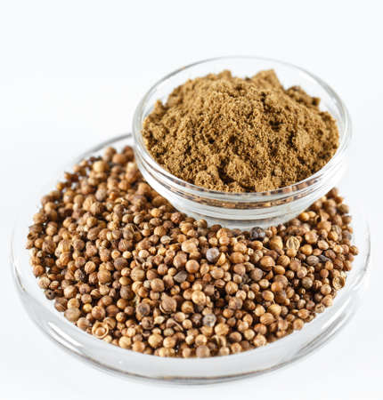 Coriander Isolated on the white background in a plate