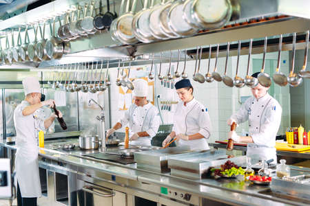Modern kitchen. Cooks prepare meals on the stove in the kitchen of the restaurant or hotel. The fire in the kitchen.