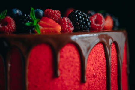 A tasty Red velvet summer fruit cake.