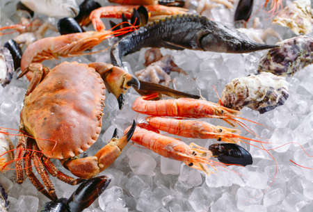 Seafood on ice. Crabs, sturgeon, shellfish, shrimp, Rapana, Dorado, on white ice. 免版税图像 - 128596024