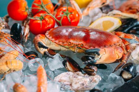 Seafood on ice. Crabs, sturgeon, shellfish, shrimp, Rapana, Dorado, on white ice. Banque d'images