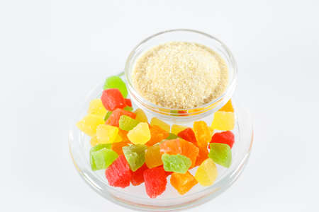 Gelatin and colorful jelly isolated on white background.