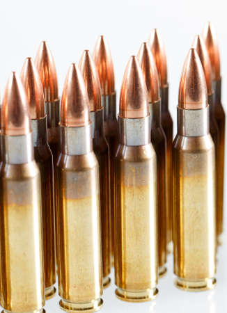 Hunting cartridges of caliber on a white background.