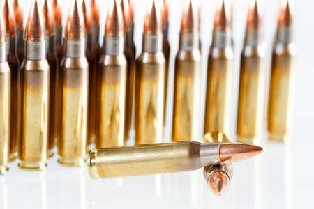 Hunting cartridges of caliber on a white background. 308 Win