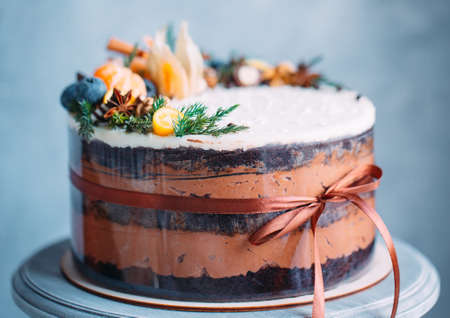 Naked cake decorated with fruit on the blue baskground. Imagens